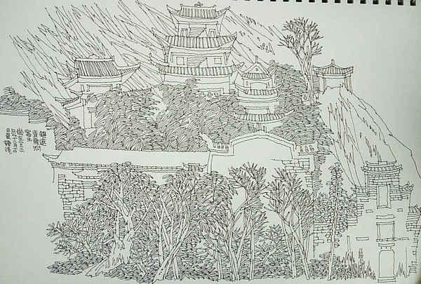 北京古城简笔画